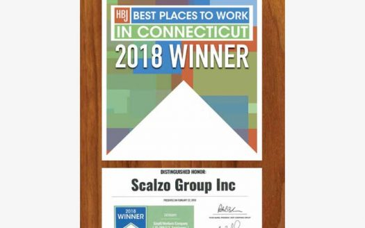 Hartford Business Journal award to Scalzo Group as 2018 Best Places to Work